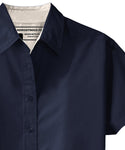 Navy Swift fox short sleeve button up with cuffed sleeves by Androgynous Fox