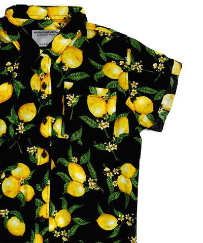 Androgynous Fox 'zinger' button-up with lemon print.