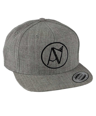 Grey snap back hat with embroidered Androgynous Fox logo