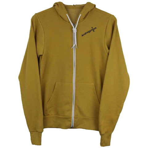 Mustard Zip Up Androgynous Fox Hoodie