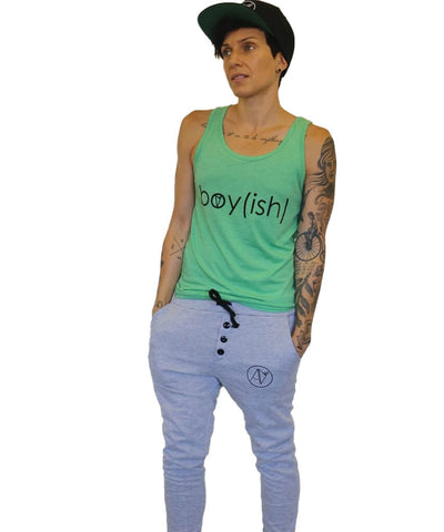 Model wearing Androgynous Fox boyish tank top in green.
