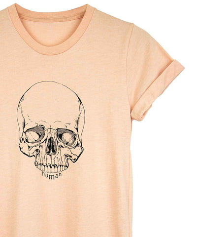 Androgynous Fox dusty peach crew neck with skull printed in black ink and cuffed sleeves.