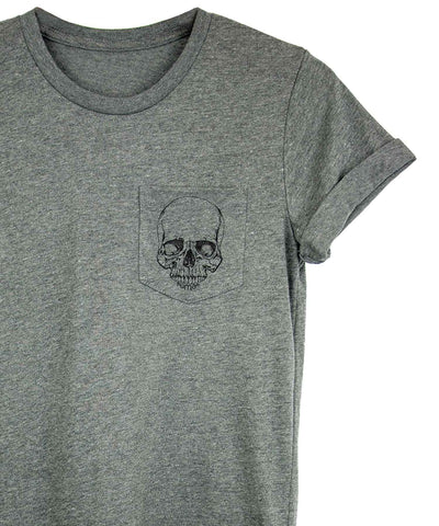 Androgynous Fox grey crew neck pocket tee with skull printed in black ink on the pocket.