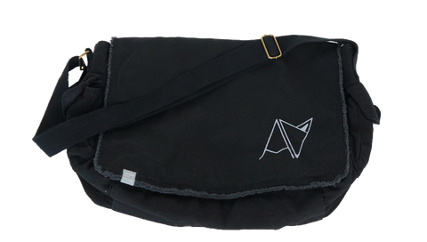Black Androgynous Fox Messenger Bag with adjustable strap, side pockets, inside quick access pocket