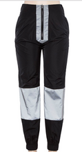 Load image into Gallery viewer, Black and Reflective half Zip Joggers