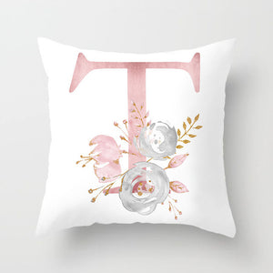 Pink Monogram Pillow Cover