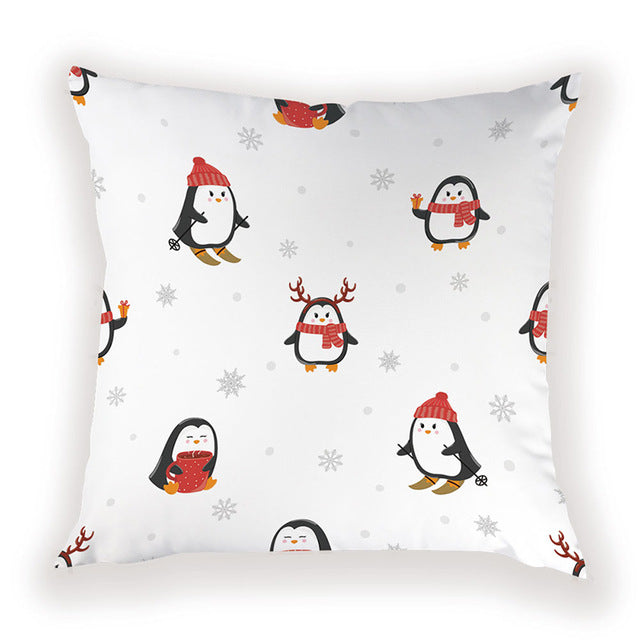 Penguin Skiing Pillow Cover