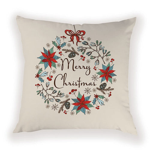 Vintage Merry Christmas Pillow Cover
