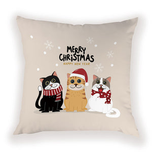 Merry Christmas Cat Pillow Cover