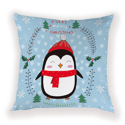 Cute Penguin Christmas Pillow Cover