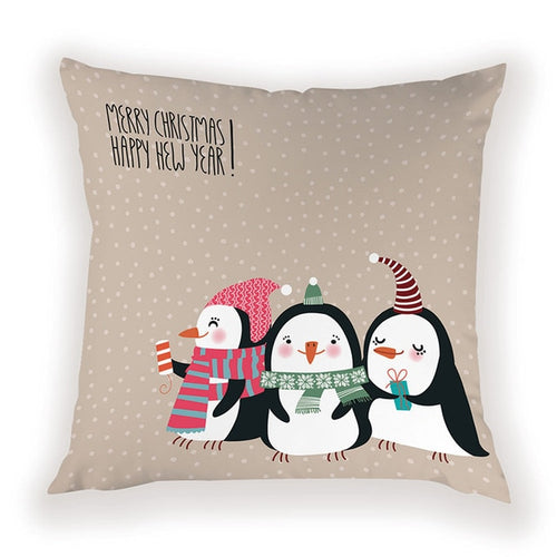 Merry Xmas and Happy New Year Pillow Cover