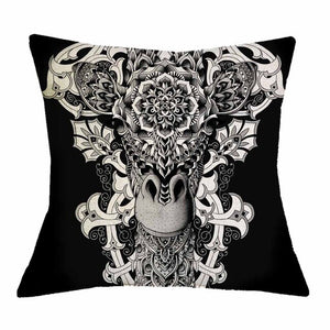 Black Giraffe Ornate Pillow Cover