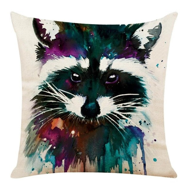 Watercolor Raccoon Pillow cover