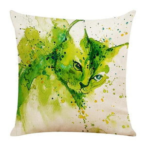 Watercolor Cat Pillow Cover