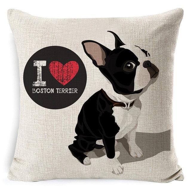 I Love My Boston Terrier Pillow Cover