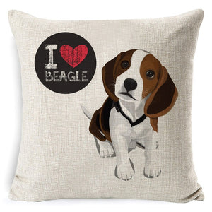 I Love My Beagle Pillow Cover