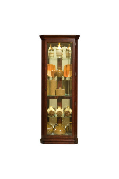 Mirrored 4 Shelf Corner Curio Cabinet in Victorian Brown - Pulaski - 20205