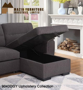 Sectional Sleeper with storage - Dark Grey - 9043DGY - Mazin Furniture