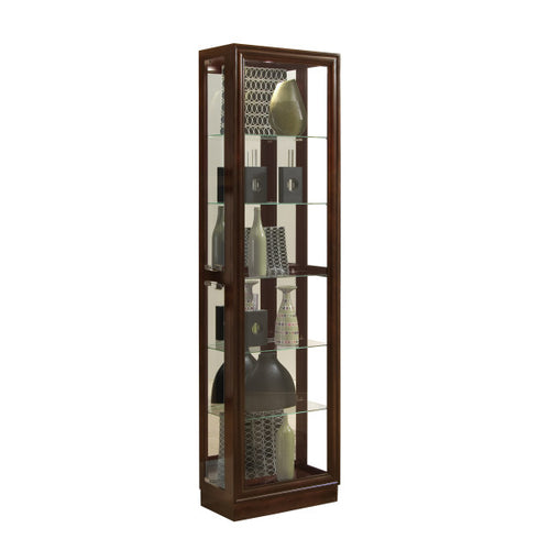 Tall Traditional 5 Shelf Curio Cabinet in Cherry Brown - Pulaski - 21000