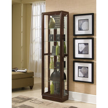 Load image into Gallery viewer, Tall Traditional 5 Shelf Curio Cabinet in Cherry Brown - Pulaski - 21000
