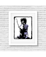 Prince on stage during the Purple Rain tour. Collectible image that makes the perfect gift for the music lover in your life.