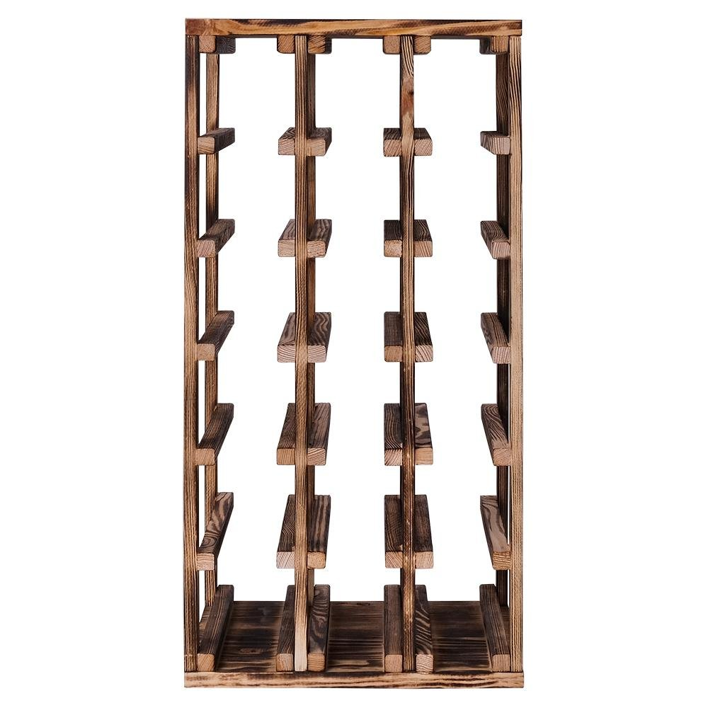 Caverack - HALF ALDA - 18 bottle wine rack - Burned pine - winestorageuk