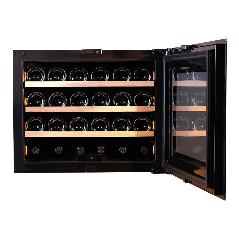 Pevino - Pl24S-BP - Integrated Wine Cooler / Wine Fridge - Push Open 24 bottles - Single zone - White glass front - 592mm Wide - winestorageuk