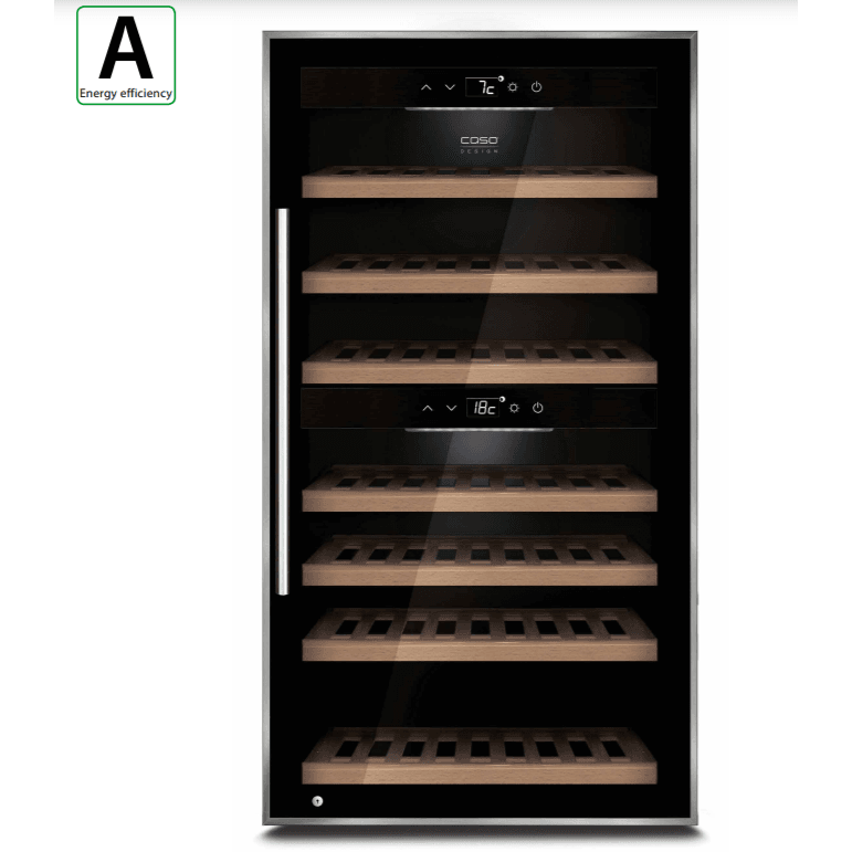 Caso - WineComfort 66 - Dual Zone Wine Cooler - 66 bottles - Black - 595mm Wide - winestorageuk