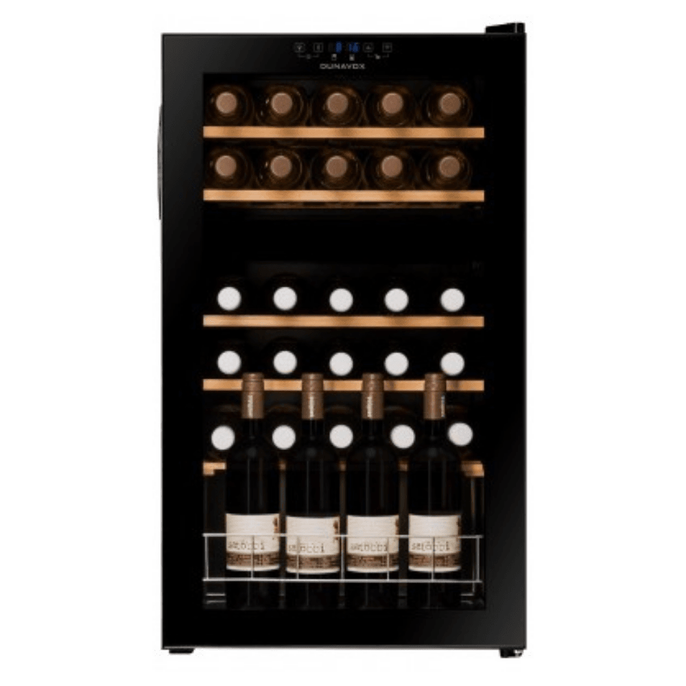 Dunavox - DXFH-30.80 - 30 Bottle Freestanding Dual Zone Wine Cabinet - Black - winestorageuk