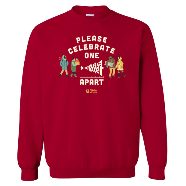 Lifetime Movies Holiday Please Celebrate Apart Fleece Crewneck Sweatshirt