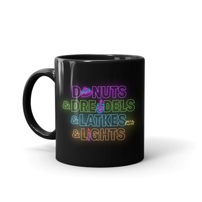 Lifetime Holiday Donuts & Dreidels & Latkes & Lights Black Mug