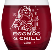 Lifetime Movies Holiday Eggnog & Chill Laser Engraved Stemless Wine Glass - Set of 2