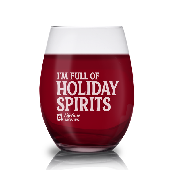 Lifetime Movies Holiday Full of Holiday Spirits  Laser Engraved Stemless Wine Glass - Set of 2