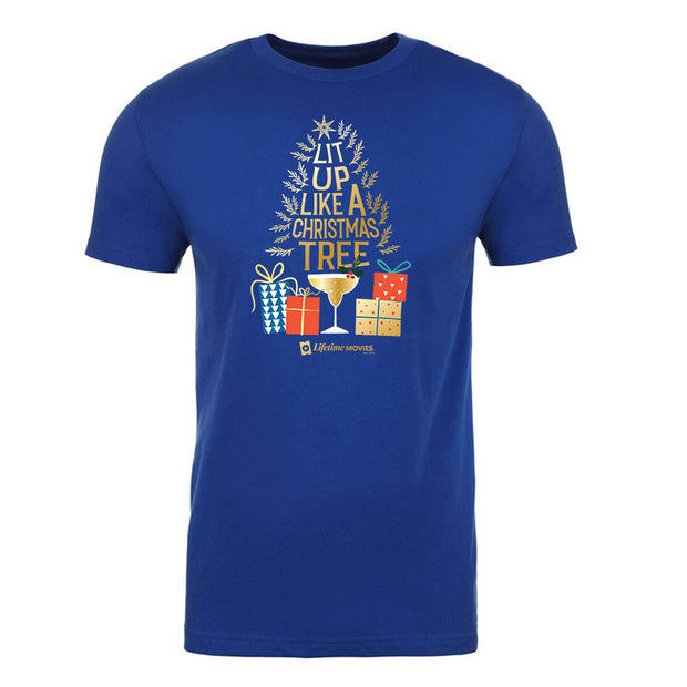 Lifetime Movies Holiday Lit Up Like A Christmas Tree Adult Short Sleeve T-Shirt