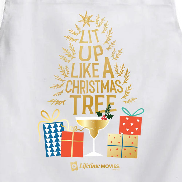 Lifetime Movies Holiday Lit Up Like A Christmas Tree Apron - With Pockets