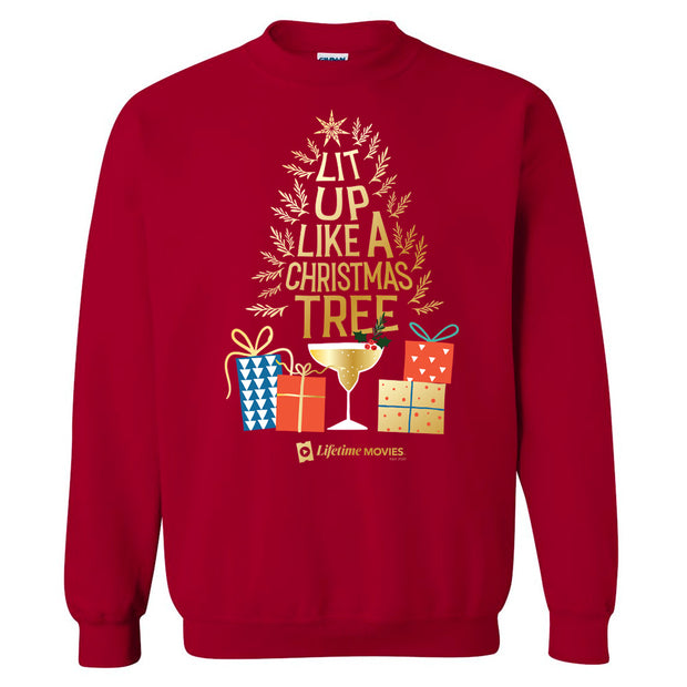 Lifetime Movies Holiday Lit Up Like A Christmas Tree Fleece Crewneck Sweatshirt