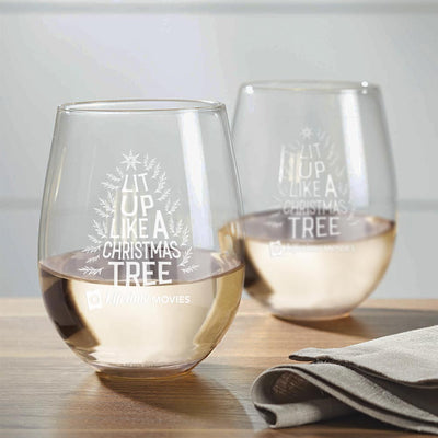 Lifetime Movies Holiday Lit Up Like A Christmas Tree Laser Engraved Stemless Wine Glass - Set of 2