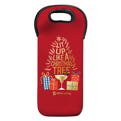 Lifetime Movies Holiday Lit Up Like A Christmas Tree Wine Tote