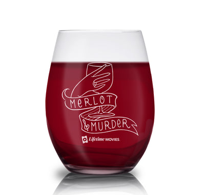 Lifetime Movies Merlot & Murder Laser Engraved Stemless Wine Glass - Set of 2