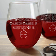 Lifetime Holiday Ampersand Stemless Wine Glasses - Set of 2