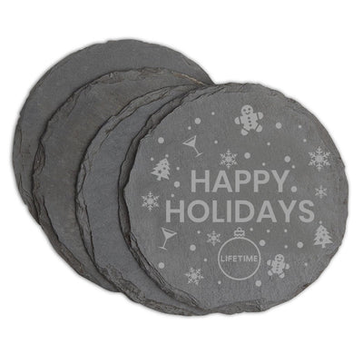 Lifetime Happy Holidays Slate Coasters