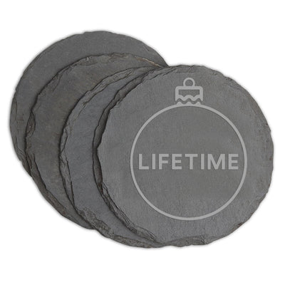 Lifetime Holiday Logo Slate Coasters
