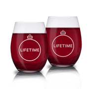 Lifetime Holiday Logo Stemless Wine Glasses - Set of 2