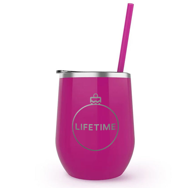 Lifetime Holiday Logo 12 oz Stainless Steel Wine Tumbler with Straw