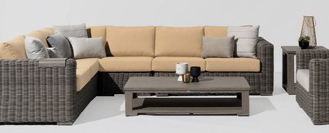 The Cubo Sectional by Ratana Wicker Land Patio