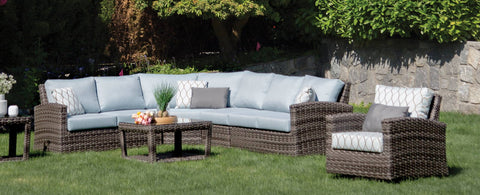 The Portfino Curved Corner Sectional by Ratana Wicker Land Patio
