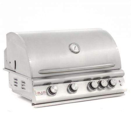 "Blaze Outdoor Products Barbecue 32"" 4 Burner with Red knob lights and interior lights LP - Marine Grade"