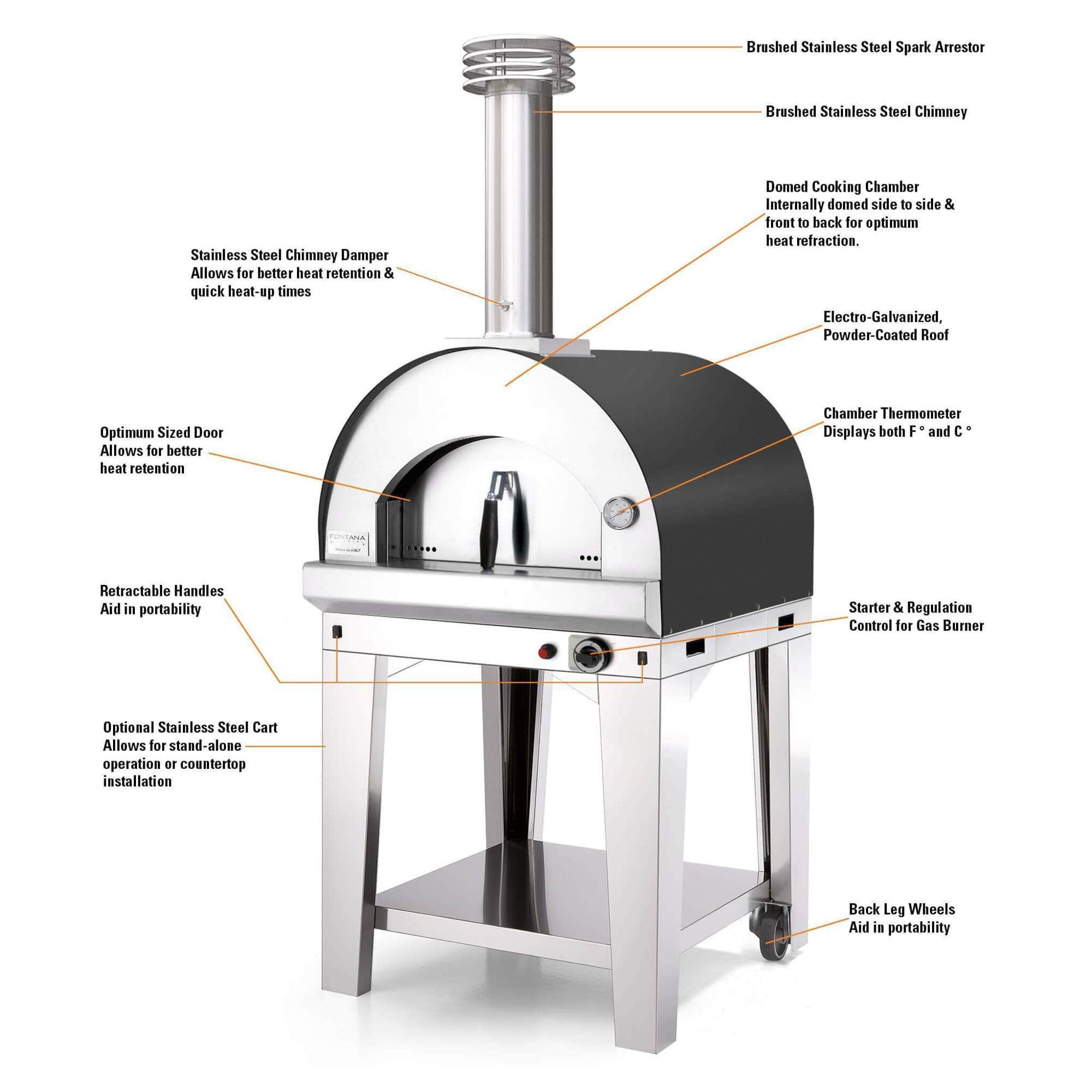 Fontana Pizza Oven The Margherita Home Gas Pizza Oven - Anthracite