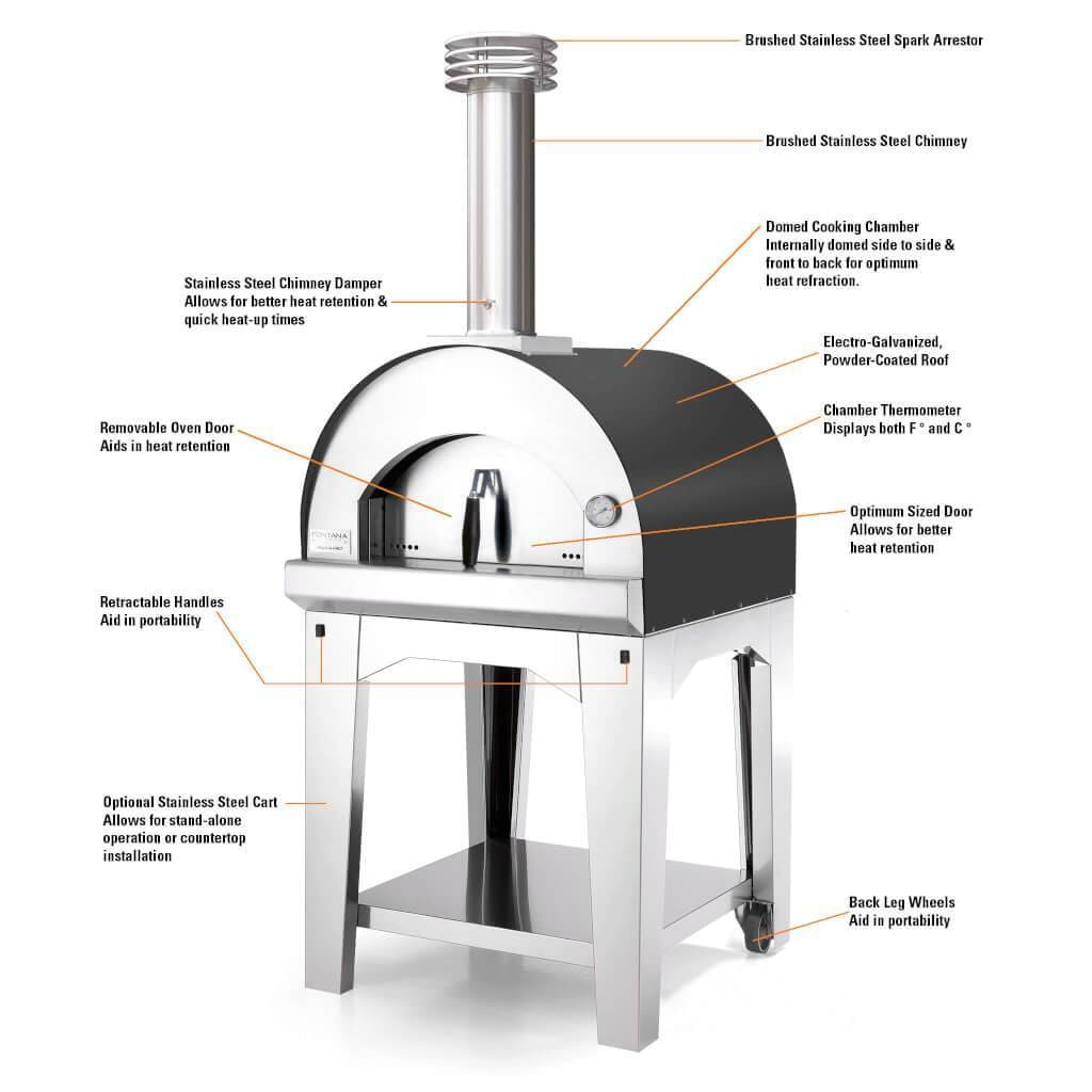 Fontana Pizza Oven The Margherita Wood Fired Pizza Oven – Stainless