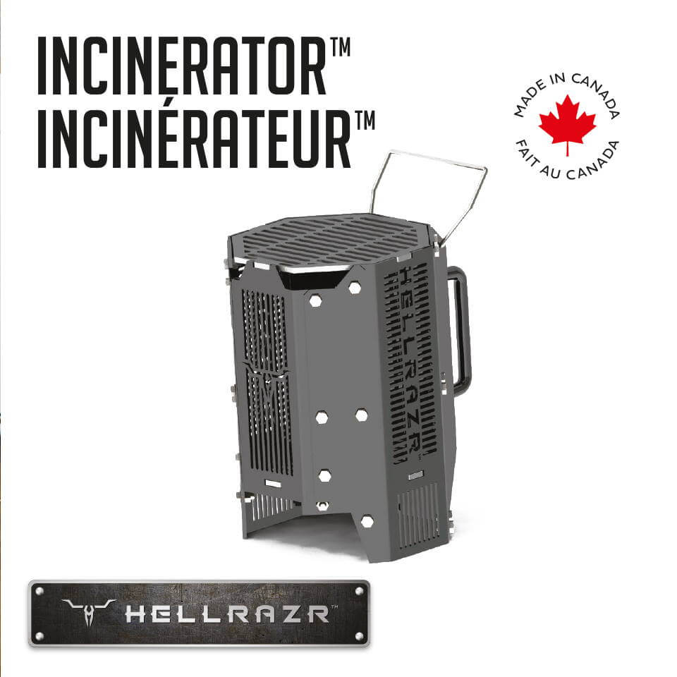 Hellrazr Outdoor Cooking Grills - Charcoal & Kamado Chimmney Starter & Portable Grill - The Incinerator